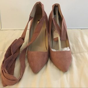 Qupid Blush Pink Suede Pointed Toe Lace Up Heels